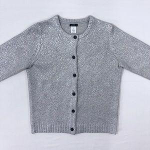JCREW Cardigan Sweater Cashmere Wool Silver SMALL